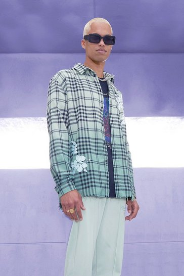 Green Oversized Ombre Check Shirt With Floral Print