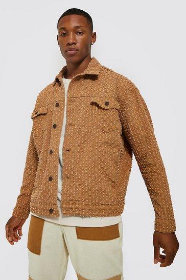 Tan brown Oversized Distressed Interest Denim Jacket
