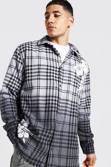 Grey Oversized Ombre Check Shirt With Floral Print