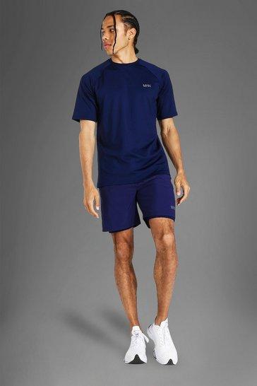 Navy Tall Man Active Tshirt & 2-in-1 Short Set
