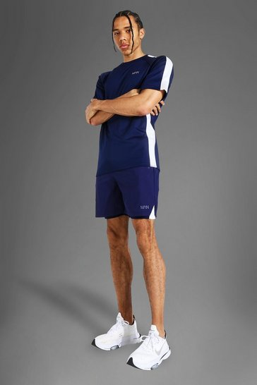 Navy Tall Man Active Side Stripe T-shirt & 2-in-1