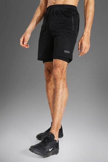 Black Tall Man Active Mesh 2-in-1 Short