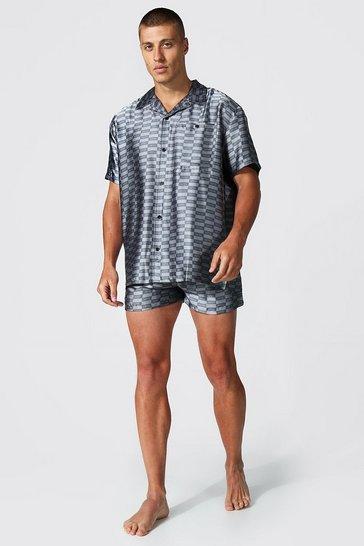 Grey Man Dash Satin Shirt & Short Set