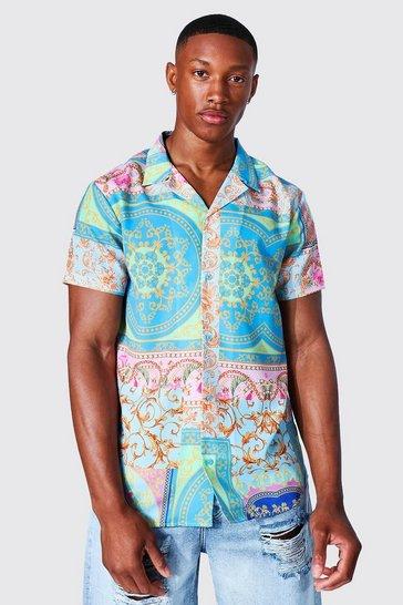 Multi Short Sleeve Tile Baroque Revere Shirt