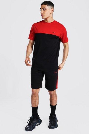 Red Man Signature Colour Block T-shirt Short Set