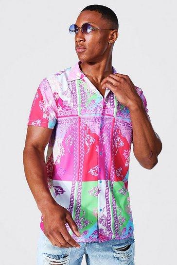 Pink Short Sleeve Colour Block Baroque Revere Shirt