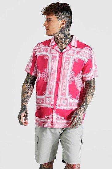 Coral pink Short Sleeve Oversized Border Baroque Revere Shirt