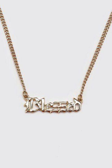 Gold metallic Blessed Pendant Necklace