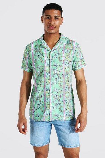 Green Short Sleeve Stripe Baroque Revere Shirt