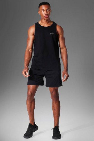 Black Man Active Racer Vest & Short Set