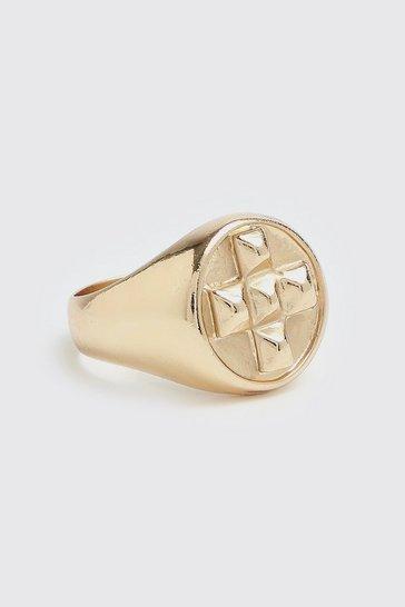 Gold metallic Square Detail Signet Ring
