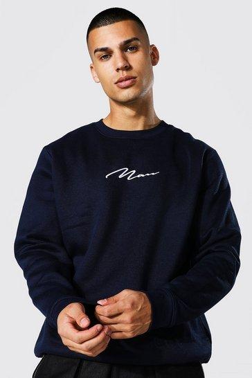 Navy Recycled Man Signature Oversized Sweatshirt