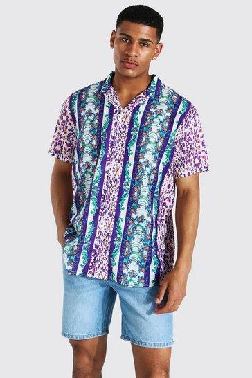 Purple Short Sleeve Oversized Stripe Baroque Revere