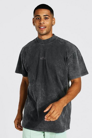 Grey Oversized Offcl Extended Neck Washed T-shirt