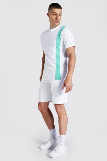 White Original Man Colour Block T-shirt & Short Set