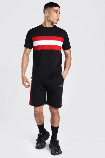 Black Man Signature Colour Block T-shirt Short Set