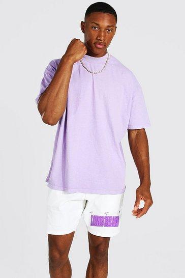 Purple Oversized Extended Neck Washed T-shirt