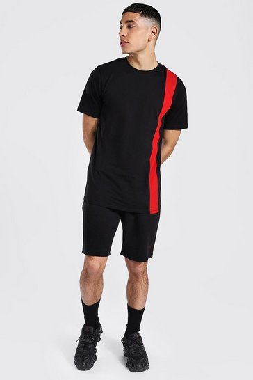 Red Original Man Colour Block T-shirt & Short Set