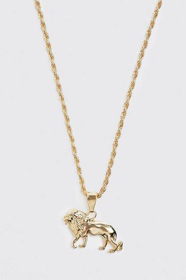Gold metallic Lion Pendant Necklace