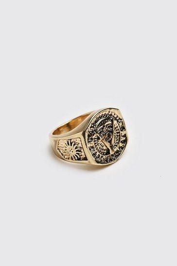 Gold metallic Chunky Signet Ring