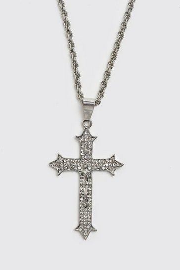 Silver Iced Cross Pendant Necklace