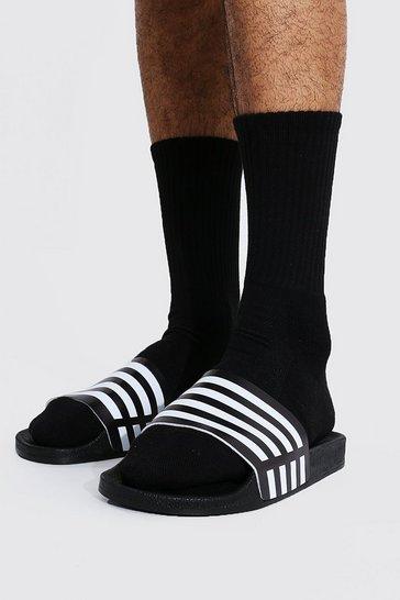 Black Striped Emboss Sliders