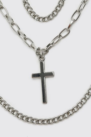 Silver Triple Layer Chain With Cross And Dog Tag