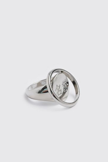 Silver 2 Pack Power Signet Ring Set