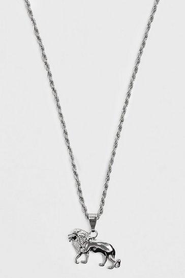 Silver Lion Pendant Necklace
