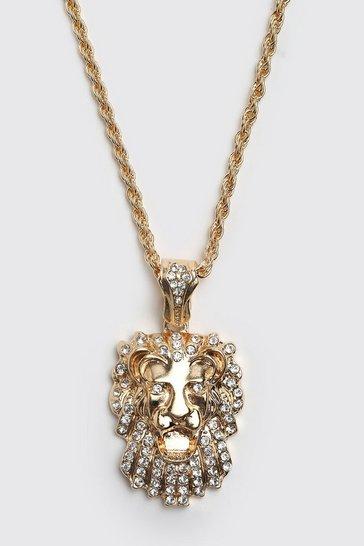 Gold metallic Iced Lion Pendant Necklace