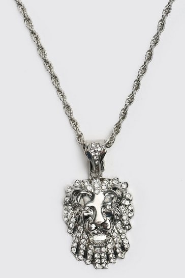 Silver Iced Lion Pendant Necklace