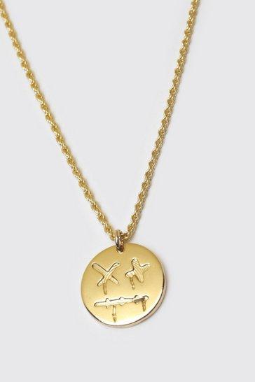 Gold metallic Trippy Face Pendant Necklace