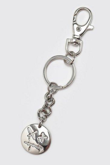 Silver Trippy Face Key Chain