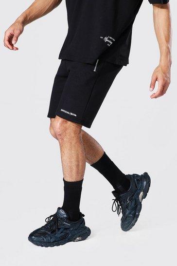 Black Slim Official Man Waistband Mid Jersey Short