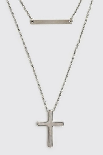 Silver Double Layer Cross And Bar Chain