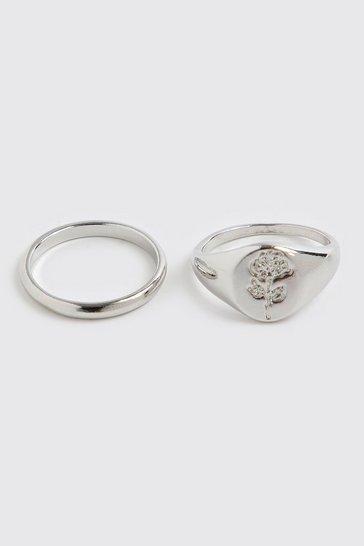 Silver 2 Pack Rose Signet Ring Set