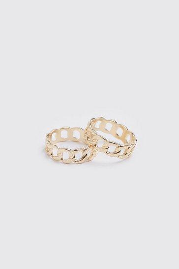 Gold metallic 2 Pack Chain Ring Set