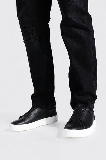Black Leather Look Smart Trainer