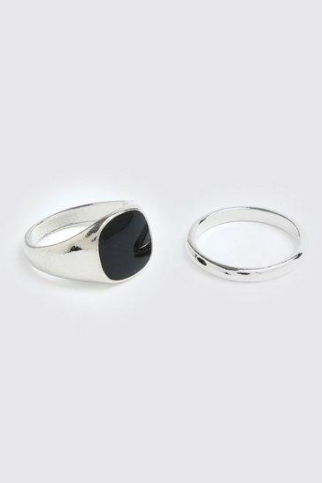 Silver 2 Pack Black Stone Ring Set