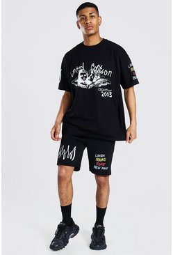 Black Oversized Cherub Graffiti T-shirt & Short Set