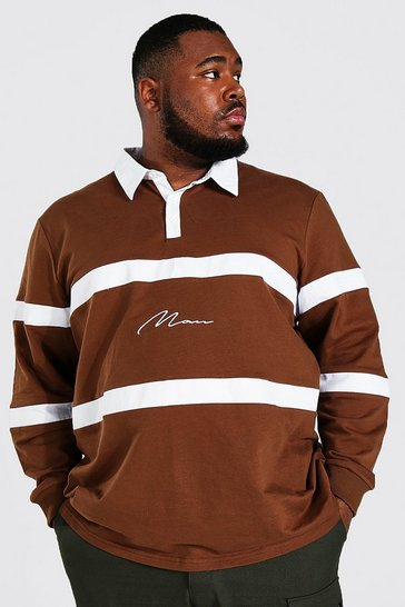 Chocolate brown Plus Size Man Colour Block Rugby Polo