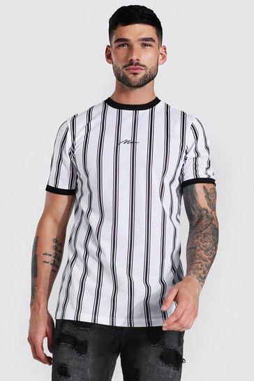 White Slim Man Signature Stripe Ringer T-shirt