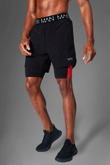 Black Man Active Side Stripe 2-in-1 Short