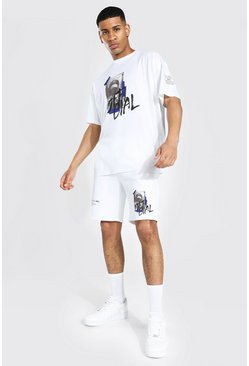 Ecru white Oversized Man Graffiti T-shirt and Short Set