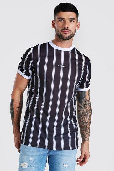 Black Slim Man Signature Stripe Ringer T-shirt