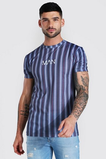 Grey Muscle Fit Original Man Stripe T-shirt