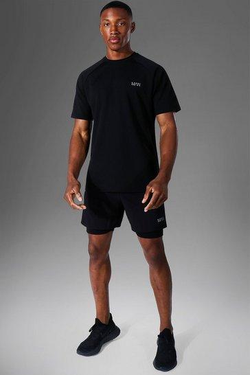 Black Man Active T-shirt & 2-in-1 Short Set