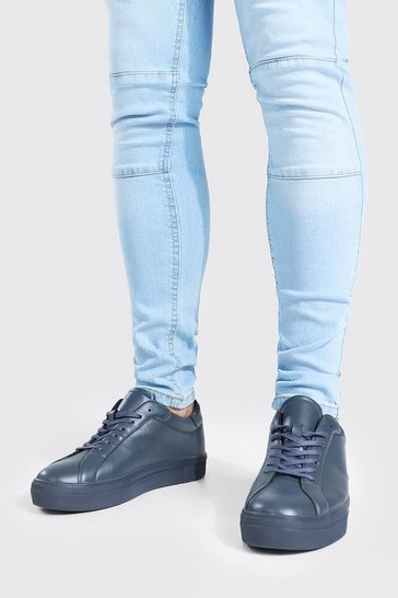 Charcoal grey Leather Look Smart Lace Up