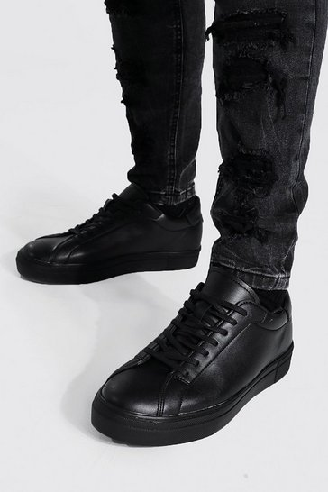 Black Leather Look Smart Lace Up