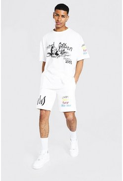 Ecru white Oversized Skull Graffiti T-shirt & Short Set